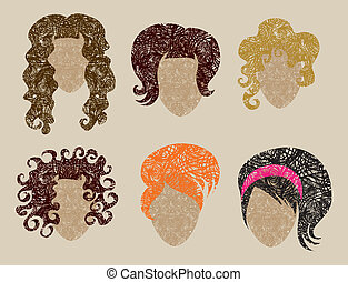 hair styling for woman - Big vector set of grunge vintage...