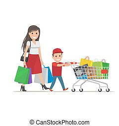 Family out on Shopping Illustration. Mother and Son