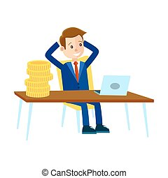Businessman Sits at Office Table Illustration