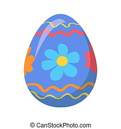 Easter Egg with Ornamental Lines and Blue Flowers