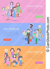 People Shopping Web Banners Set in Flat Design - People...