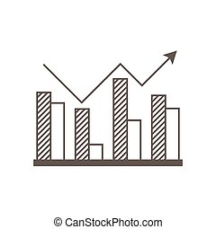 Business icon, management. Simple vector icon of a rising  block diagram with an arrow. Flat style.