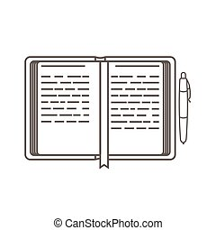Business icon, management. Simple vector icon of an open day planner and a pen. Organizer. Line art style.