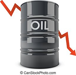 Black oil barrel with red arrow going down vector...