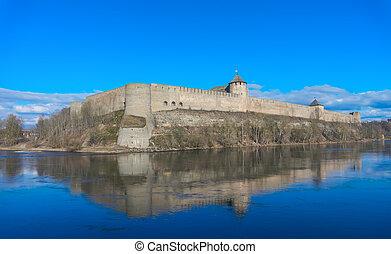 Ivangorod fortress on sunny day, Narva river, Leningrad...