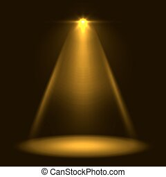 Abstract yellow warm stage spotlight vector background....
