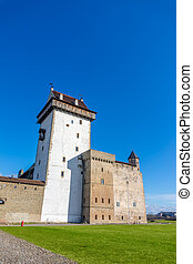 Hermann Castle facade on sunny day, Narva, Estonia. The...