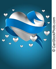 Abstract silver heart with blue ribbon vector greeting card template.