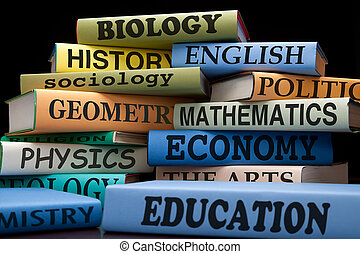 stack of textbooks - school books on a stack educational...