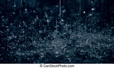 Rain drops hitting puddle in the dark close-up slow motion...