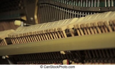 Piano inside, Internal structure of piano, hammers and keys....