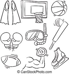 Doodle of equipment sport collection
