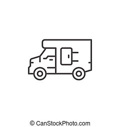 Delivery van line icon isolated on white. Vector...