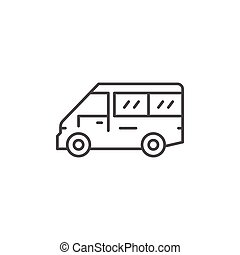 Mini bus line icon isolated on white. Vector illustration