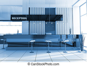 Reception in hotel - Hall of hotel in agoy 3d image