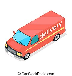 Red Truck of Delivery Cartoon Style Flat Design