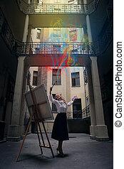 Painter woman outside