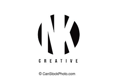 NK N K White Letter Logo Design with Circle Background. - NK...