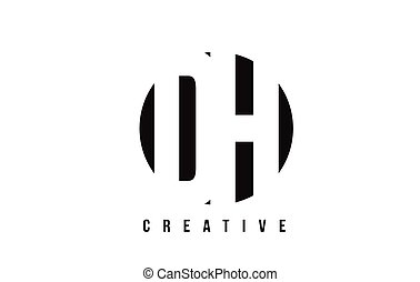DH D H White Letter Logo Design with Circle Background. - DH...