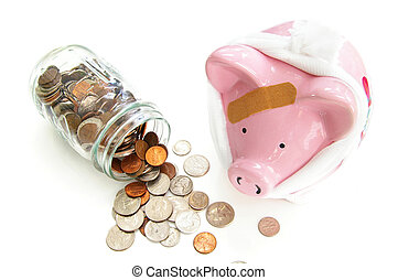 bandaged piggy bank with coins - medical costs