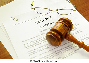 legal contract and law gavel