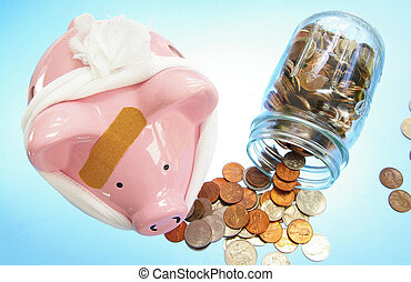 bandaged piggybank with coins (medical costs)