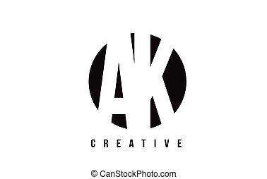 AK A K White Letter Logo Design with Circle Background. - AK...