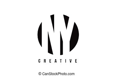 NY N Y White Letter Logo Design with Circle Background. - NY...