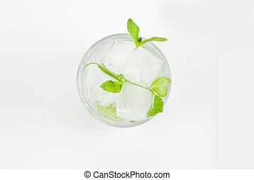 Glass of water with mint and ice - Glass of water with fresh...