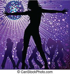 girls dancing in night-club - Vector background with two...
