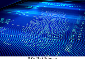 identification system interface scanning a human fingerprint