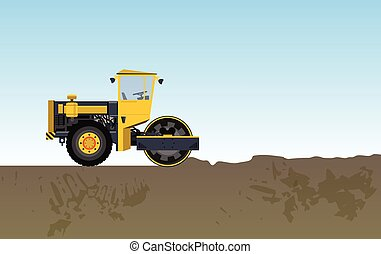 Road vibratory roller is rolled clay. Yellow roadroller...