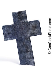 Halloween stone cross - closeup of a stone cross for...