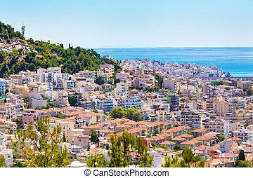Old city in Kavala, Greece - Old city and sea view in...