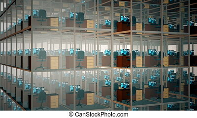 Empty Office Cubicles. - Cubicles With Chairs And Computers...