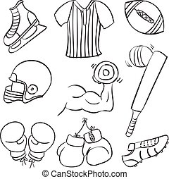 Collection of sport equipment vector art
