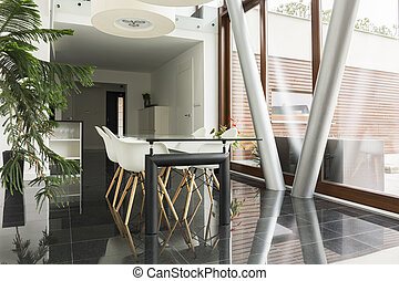 Home area with communal table - Modern home area with...