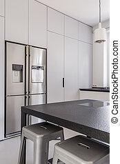 Double door refrigerator in modern kitchen - Double door...