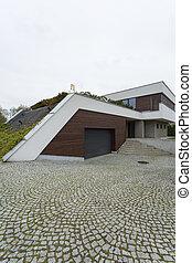 Front of a modern villa