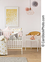 Simple baby room with crib - Simple baby room with white...