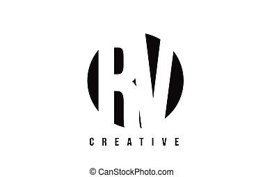 RV R V White Letter Logo Design with Circle Background. - RV...