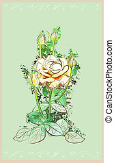 vintage greeting card with rose