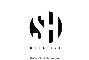 SH S H White Letter Logo Design with Circle Background. - SH...