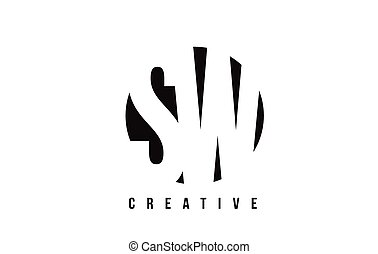 SW S W White Letter Logo Design with Circle Background. - SW...