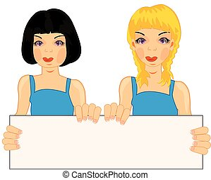Two girls with poster