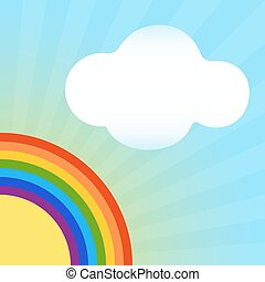 Abstract rainbow summer vector background with copy space.