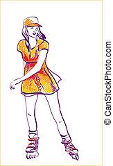 Sketch of rollerskating teenage girl. Hand drawn...