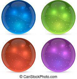 Color shiny glass ball isolated on white background.