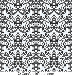 Seamless black and white floral vector pattern.