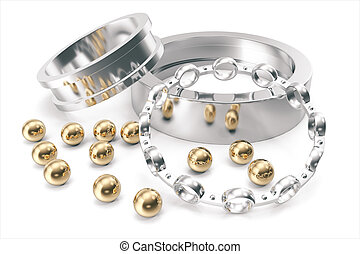 Silver and gold balls bearings on a white background. 3d...
